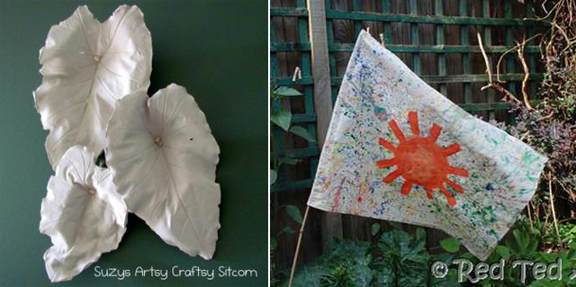 Plaster cast leaves,fabric splattered paint flag