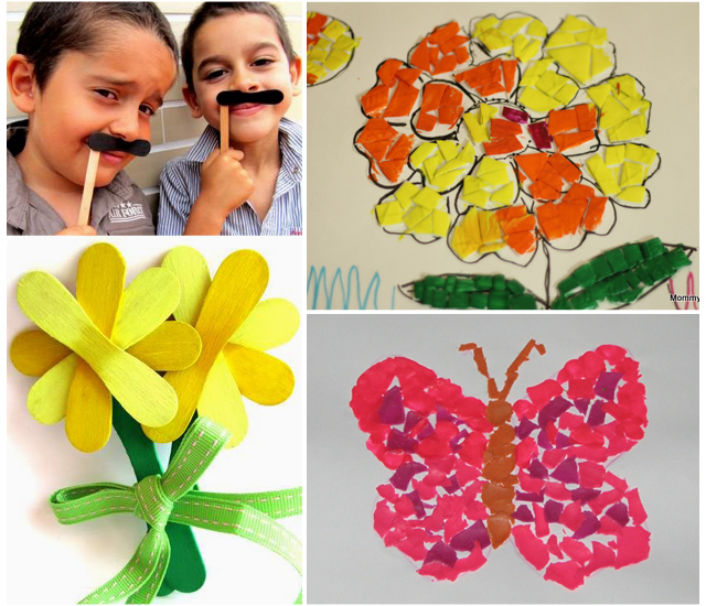 Gelato spoon mustaches and flowers,mosaic with playdoh and foam