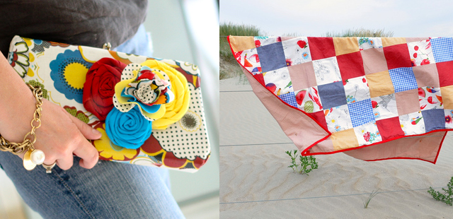 Remade clutch,picnic quilt