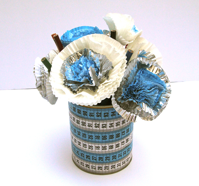 Cupcake Liner Flowers With Tape Measure Vase