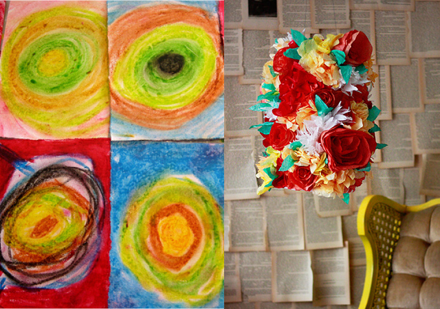 Oil Pastels, coffee filter flower lamp