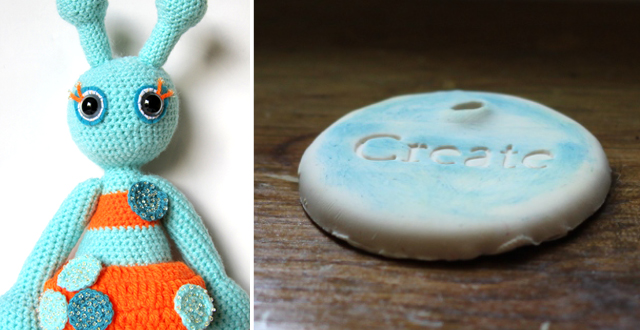 Crocheted martian doll,polymer clay pendant