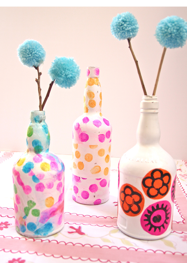 Wine Bottle Vases Decoupaged With Tissue Paper Creative Jewish Mom