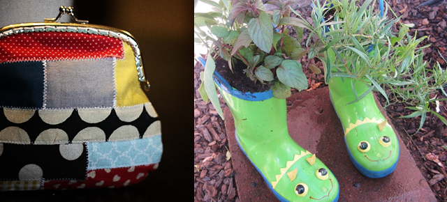 Patchwork coin purse,rainboot planter