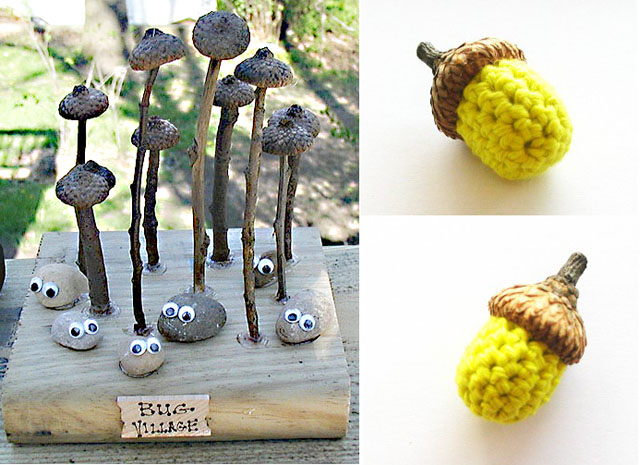 Acorn cap and stone bug village,crocheted acorns