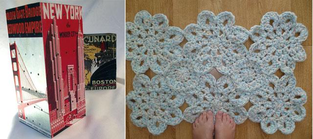 Industrial tea light shade,crocheted back mat