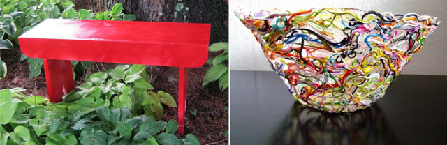 Red bench,yarn scraps bowl