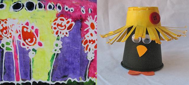 Glue batik,plastic cup crow