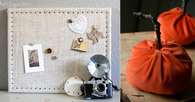 Velvet pumpkin,burlap covered bulletinn board