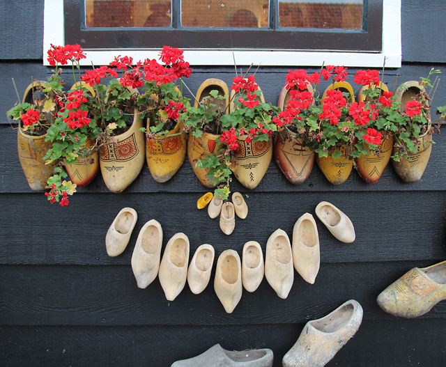 Container Gardening in holland wooden shoe planters