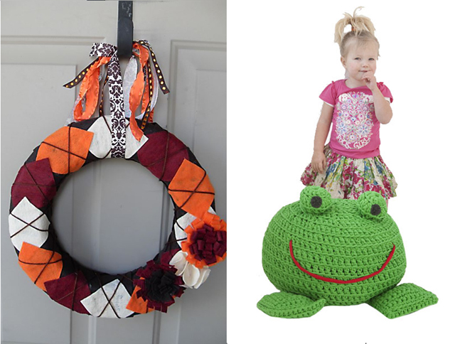 Arygle wreath,crocheted frog pouf