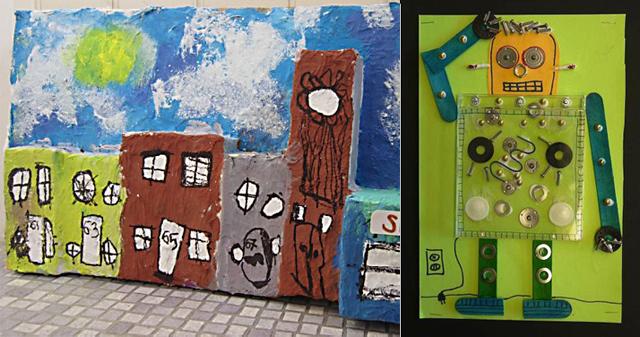 Robot kids art,paper mache street scene