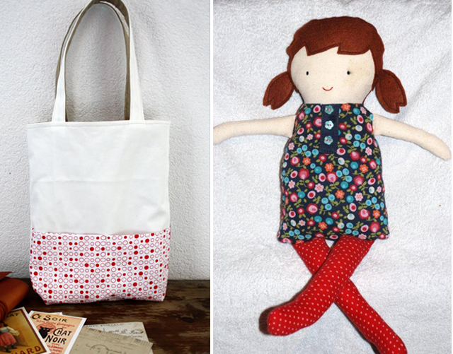 Black apple doll,tote back with patterned bottom