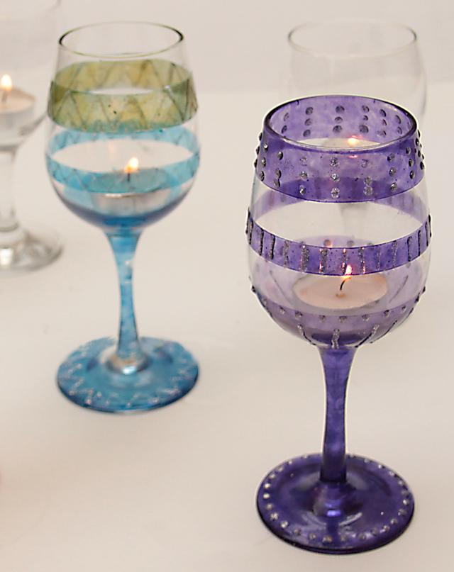 Wine Glass Painted Purple Votive Holder