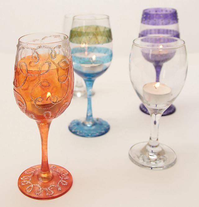 Wine Glass Painted Votive holders