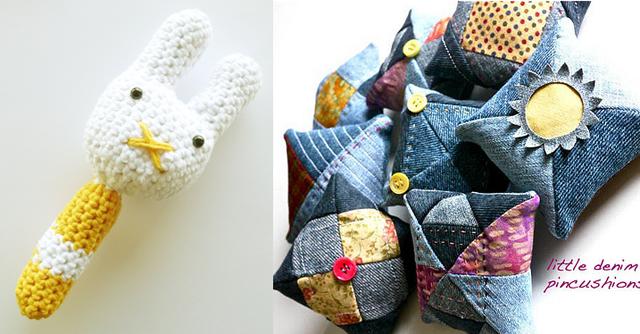 Crocheted rattle, denim pin cushions