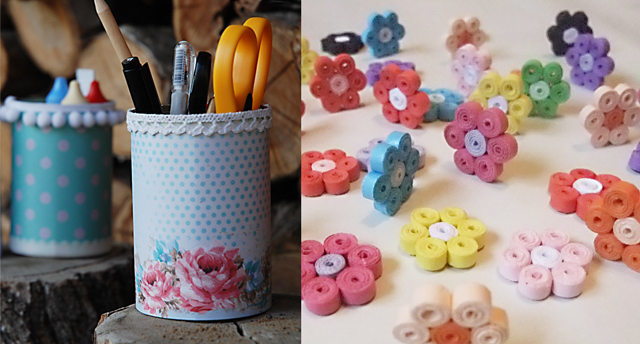 Pencil cups,coiled flowers