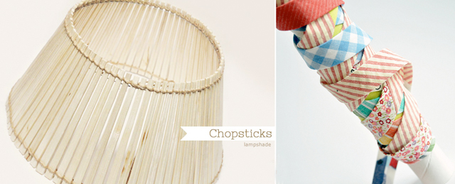 Chopstick lampshade,bias tape from scraps