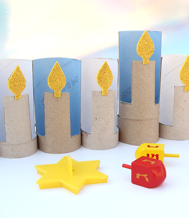 Hanukah Menorah From TP Rolls kid's craft