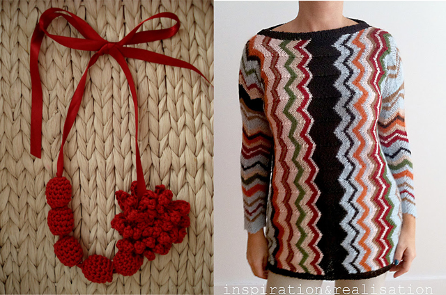 Crocheted beads necklace,missoni inspired knit sweater