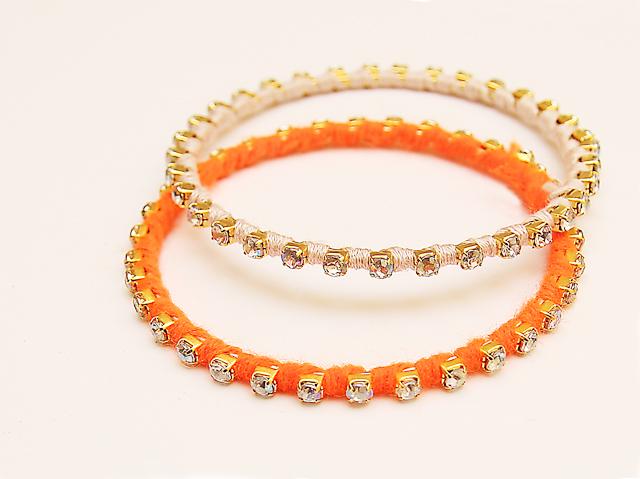 Rhinestone bracelets made from rhinestone chain