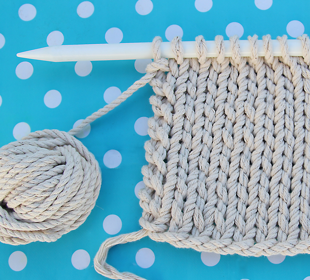 Knitting With Rope close up