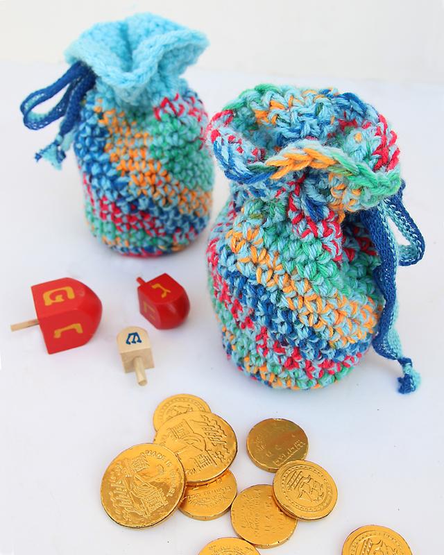 Crocheted Chanukah Gelt Bags