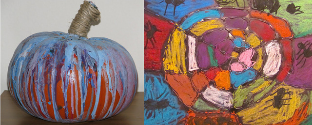Drip painted pumpkin,spider web with glue and pastels