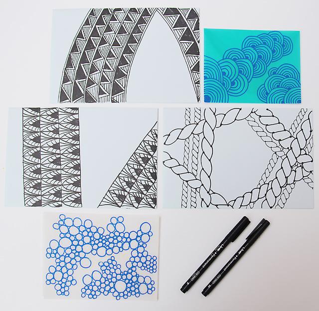 Doodle patterns on envelopes