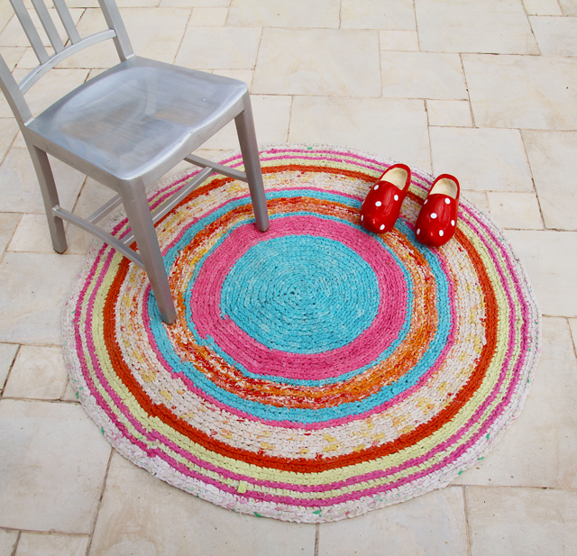 Crocheted Rag Rug From sheets and pillowcases +chair