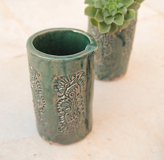 Ceramic hand built cup empty