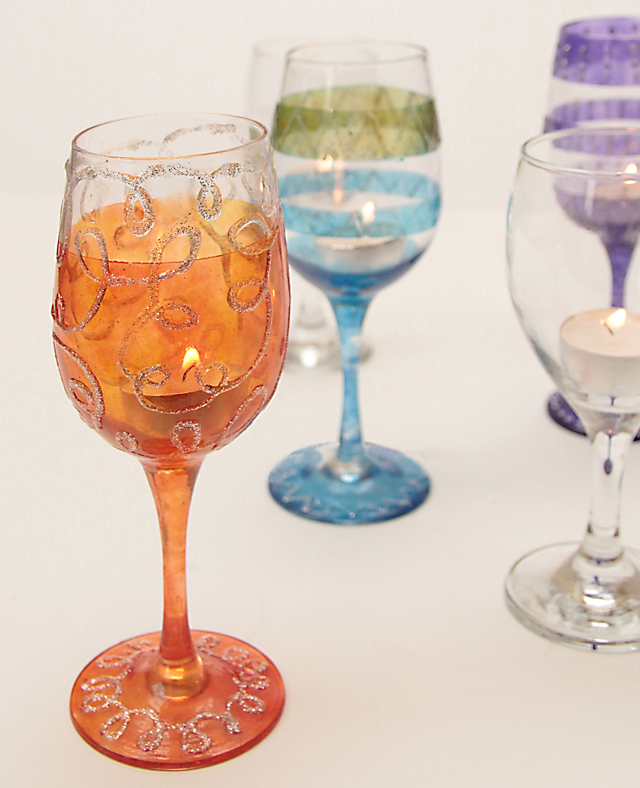 Wine Glass Votive holders painted glass orange