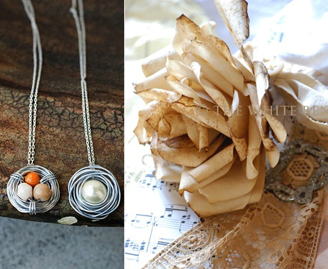 Beaded bird's nest pendants,coffee filter rose