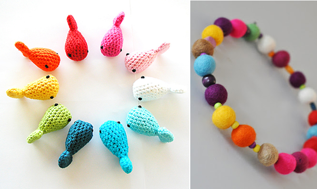 Crocheted fish, felt ball wreath