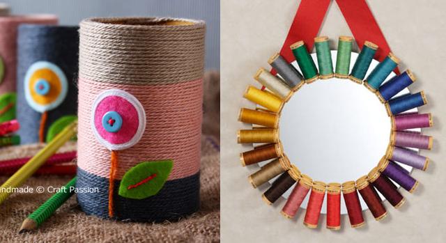 Yarn wrapped can, spool mirror