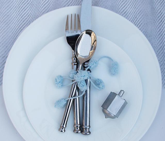 Chanukah pom pom silverware