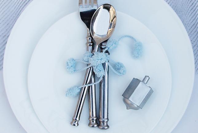 Chanukah pom pom silverware wrap JOK