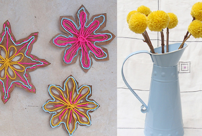 Yarn snowflakes, pom poms