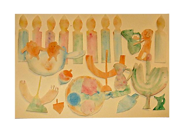 Hanukkah craft watercolor collage