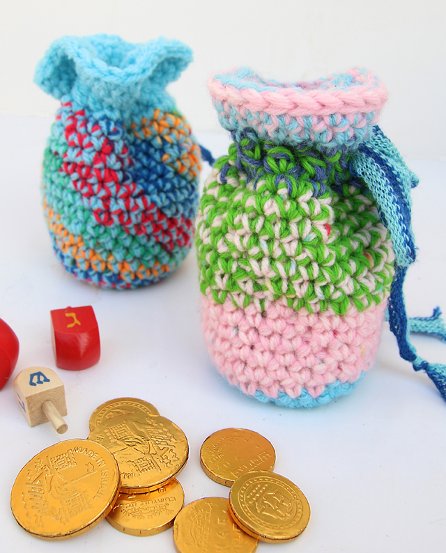 Crocheted Chanukah Gift pouches