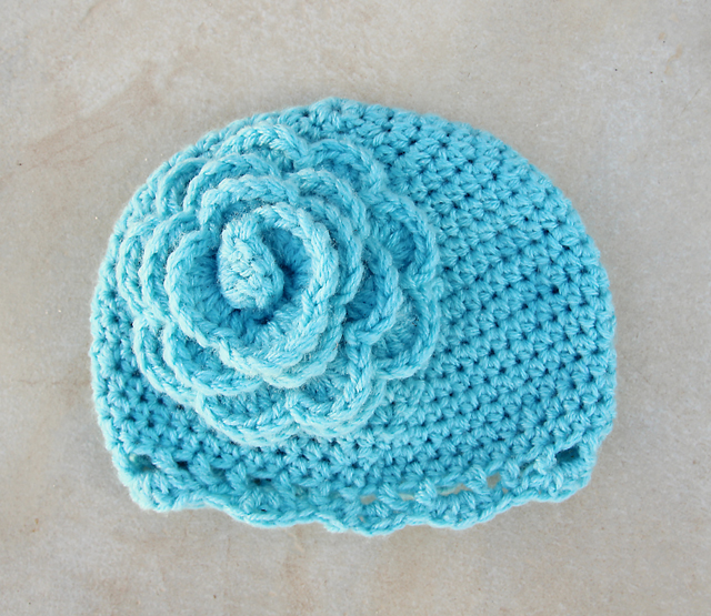 Crocheted Beanie With Giant Flower