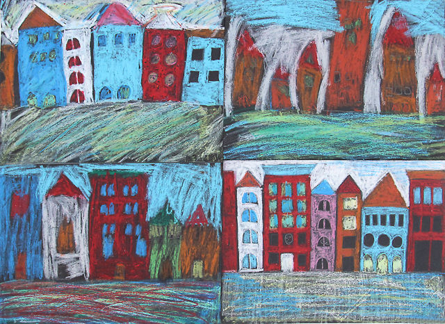Pastel On Black Paper Cityscape