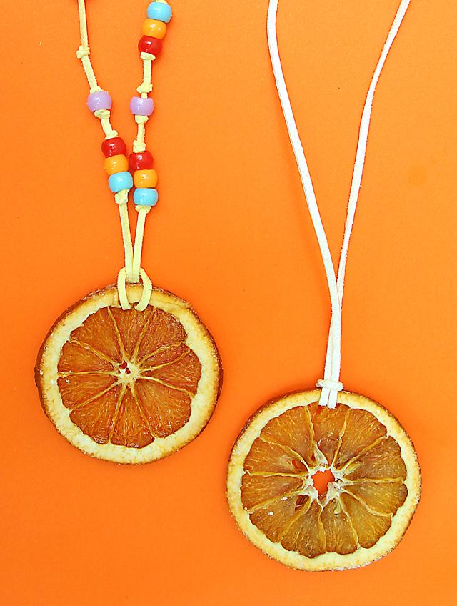 Dried orange slice bead necklaces for kids
