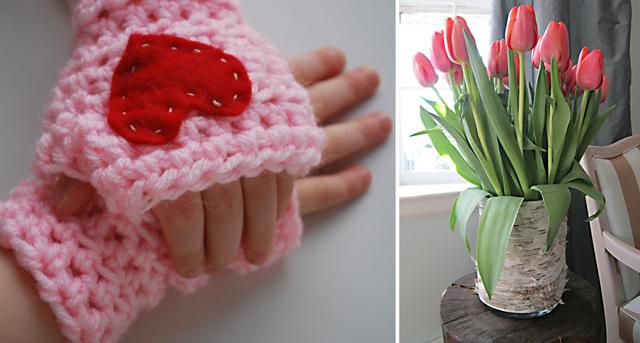 Crocheted kids fingerless gloves, bark vase