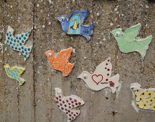 Garden mosaic flock of birds 2