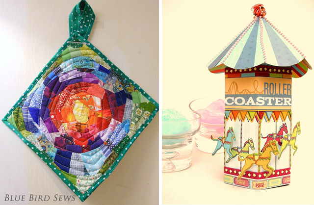 Patchwork potholder, paper carousel container