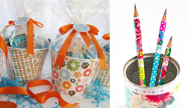 Shaloch manot buckets,covered pencils