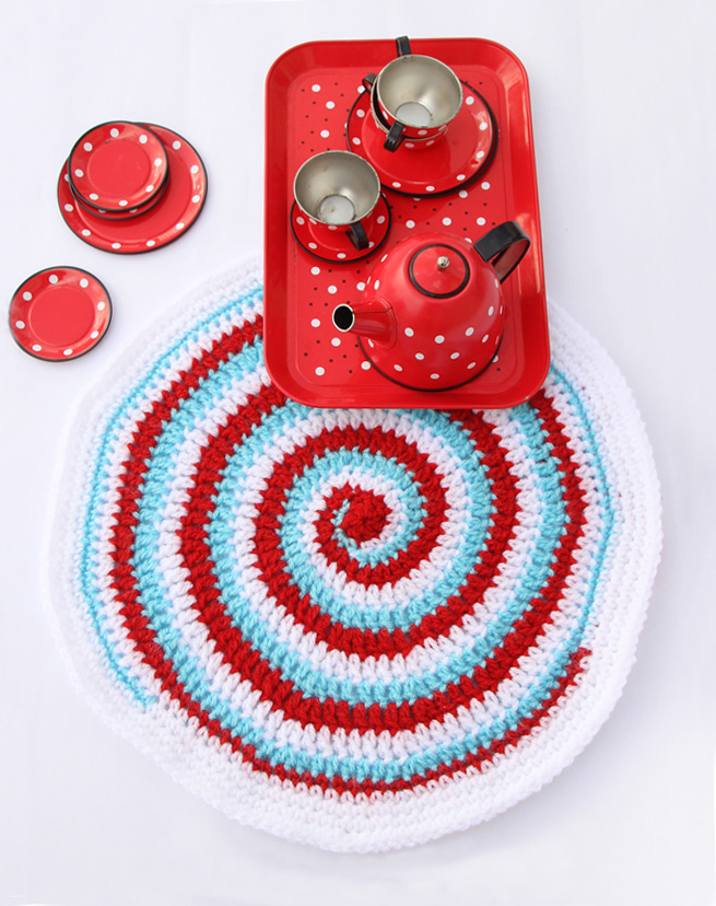 Crocheted Three Color Spiral Placemat