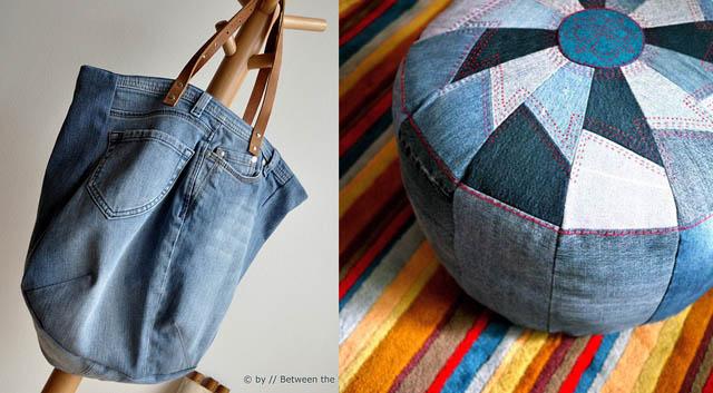 Jean scraps pouf,jean tote