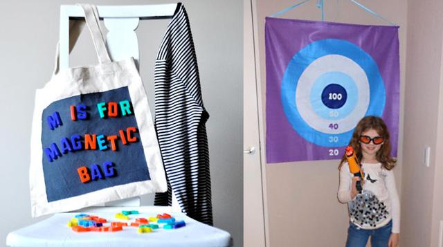 Magnetic tote bag, felt target